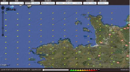 Carte des vents sur la Manche